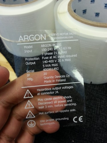 Argon machine labels, first try