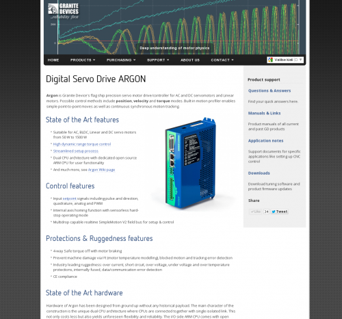 ARGON product page in the main web site