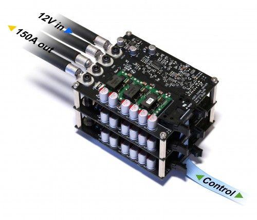 Intenisify Nx50 laser diode driver delivers up to 150 A continuous current when three boards are connected parallel by stacking