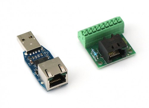 SMV2USB adapter and SMV2BRK bus termination board.