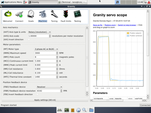 Granity running on LinuxCNC distribution